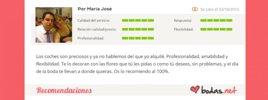 """Bodas Cartagena - Recomendaciones - """"María José: Los coches son preciosos y ya no hablemos del que yo alquilé. Profesionalidad, amabilidad y flexibilidad. Te lo decoran con las flores que tú les pidas o como tú desee"""