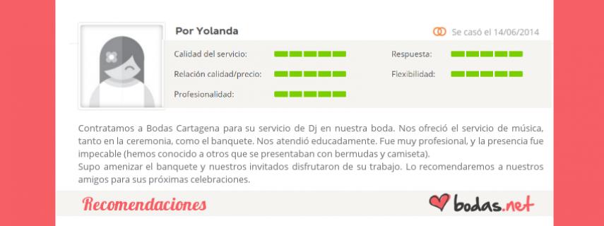 """Bodas Cartagena - Recomendaciones - """"Lidia: Una mezcla de excelencia, entre calidad, puntualidad, profesionalidad, precio, inmejorable en cuanto al servicio prestado, y si hablamos del coche me cabe decir que te siente"""