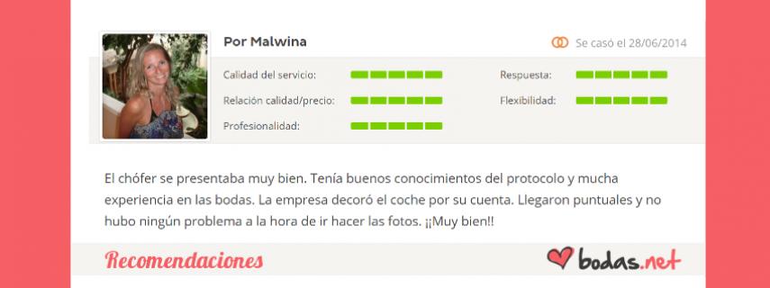 """Bodas Cartagena - Recomendaciones - """"Malwina: El chófer se presentaba muy bien. Tenía buenos conocimientos del protocolo y mucha experiencia en las bodas. La empresa decoró el coche por su cuenta. Llegaron puntuales"""