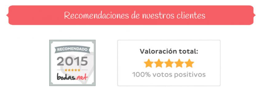 Bodas Cartagena - Recomendaciones - Valoracion total - 100% votos positivos