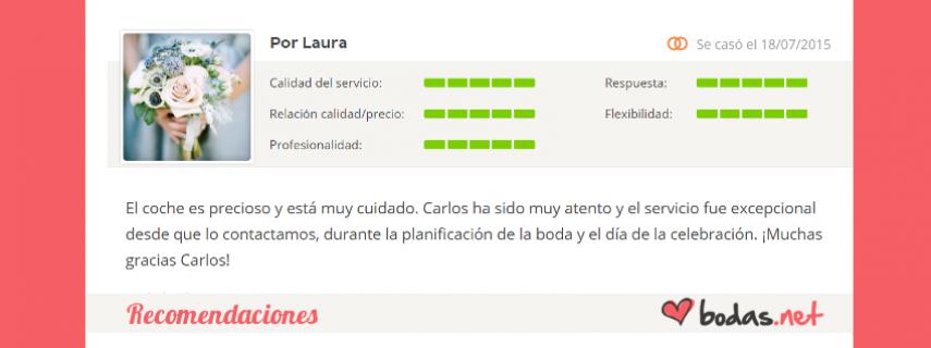 """Bodas Cartagena - Recomendaciones - """"Laura: El coche es precioso y está muy cuidado. Carlos ha sido muy atento y el servicio fue excepcional desde que lo contactamos, durante la planificación de la boda y el día de l"""